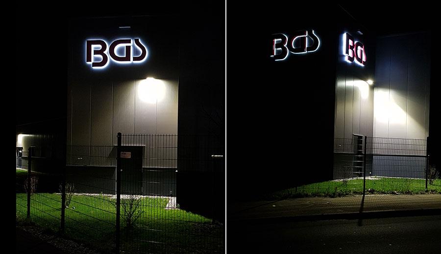 Leuchtbuchstaben bei Nacht Profil 5 Deluxe